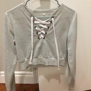 Tops - Gray crop top sweatshirt